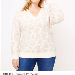 LOFT Plus Animal Spotted V-Neck Sweater